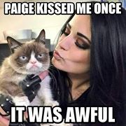 I abersety agree with the grumpy cat! Paige kissed me once it was awful!