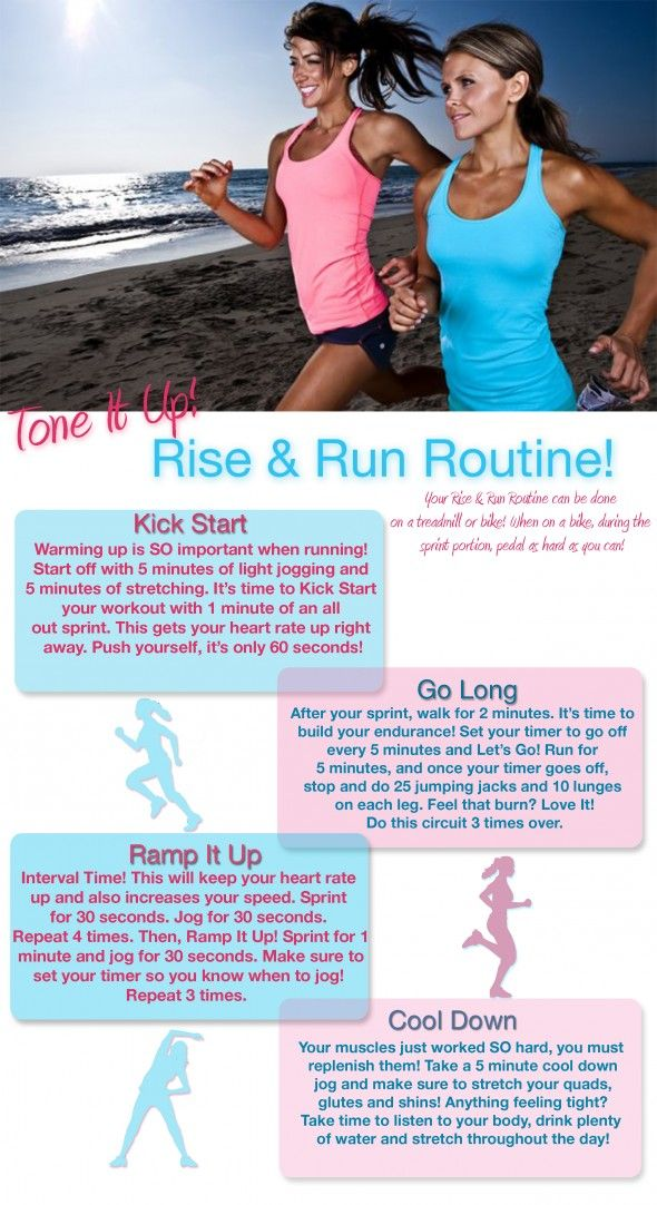 Time to Rise & Run! Your great cardio that also focuses on your glutes and thighs! From your trainers, Katrina and Karena at www.toneitup.com