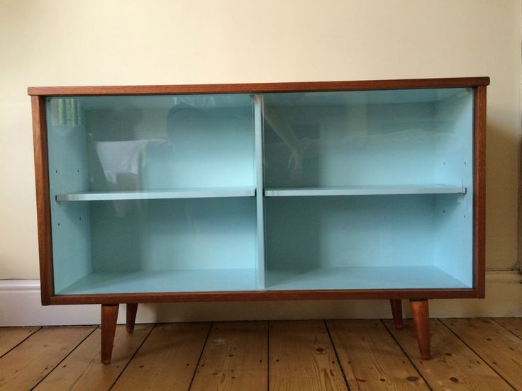 love this idea of painting inside a different color!  1950s / 60s Vintage Retro Mid Century Teak Glass Display Cabinet
