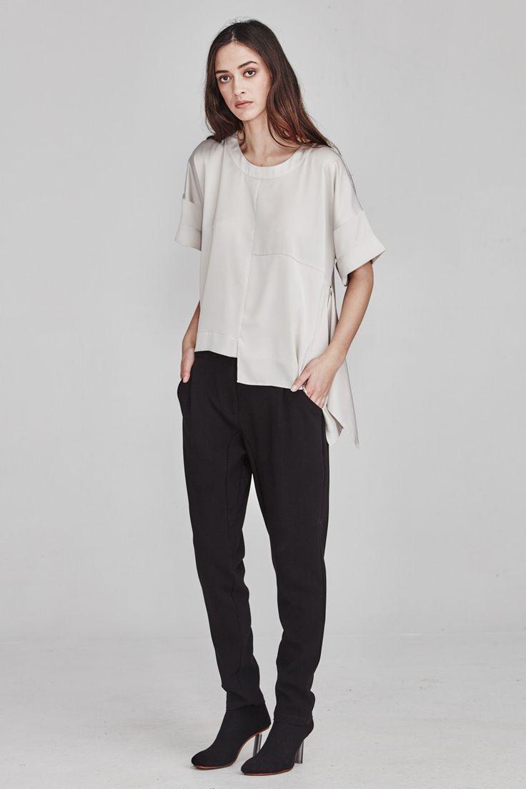 Ricochet NZ Fashion Clothing AW17 Limestone Asymmetrical Pearl Top
