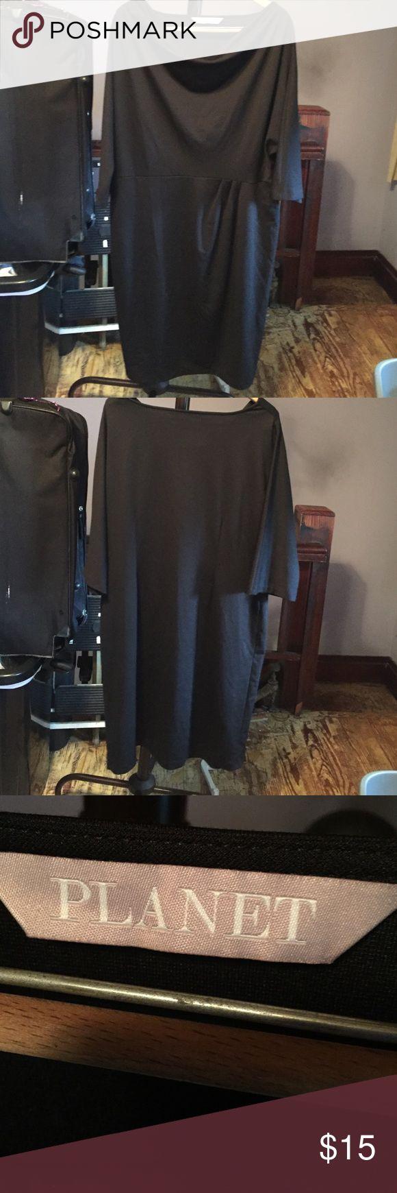 Black drape neck dress A dress for many occasions. Planet Dresses Midi