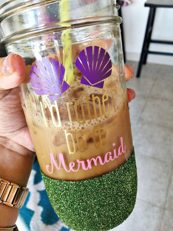 Mermaid glitter cup / glitter mason jar / by LittleDandelionKids