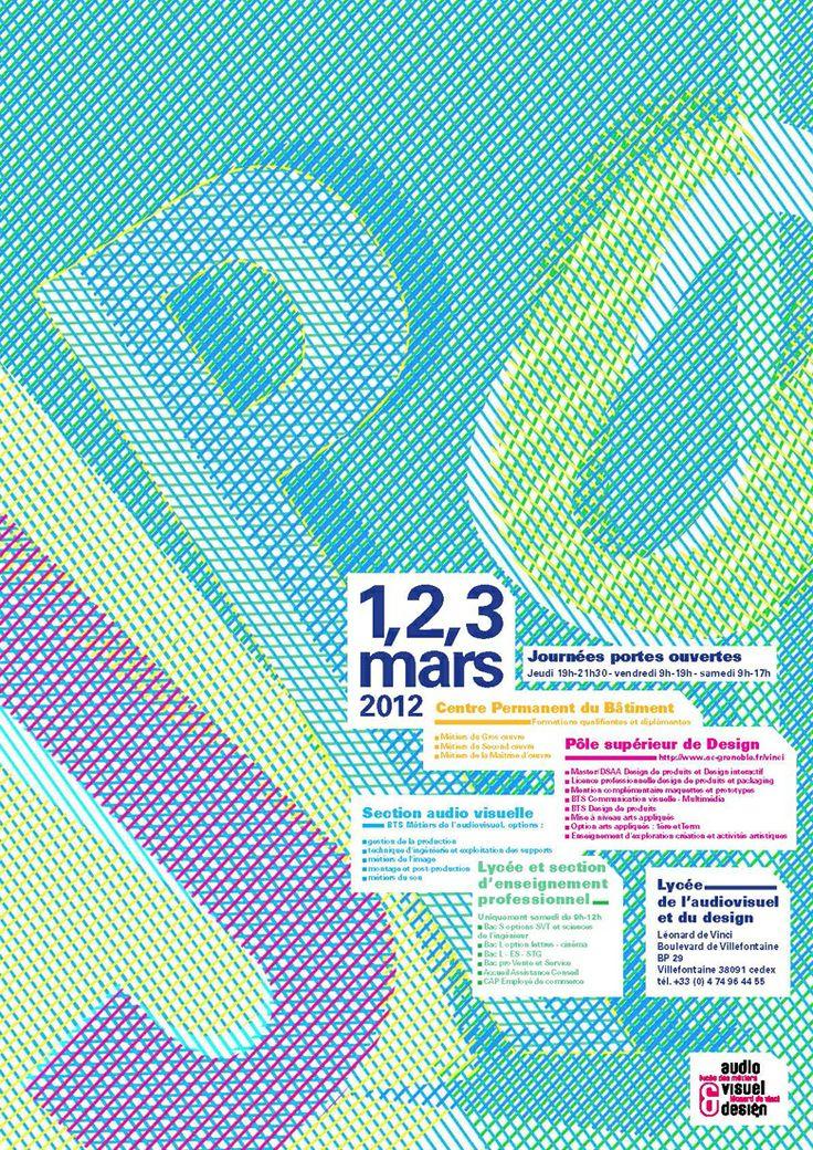 stripes -rayures Affiche JPO Lycée Léonard de Vinci à Villefontaine
