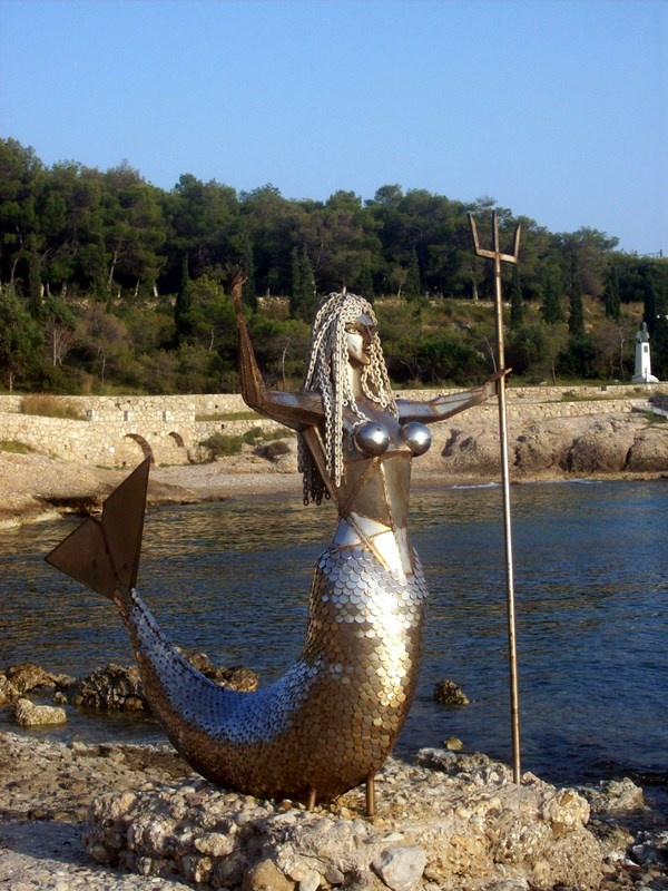 Mermaid sculpture by Natalia Mela, Spetses, Greece.