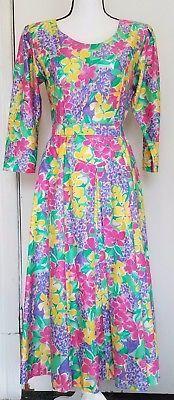 Vintage Tanner of North Carolina Floral 1950's Dress 3/4 Sleeve Size L