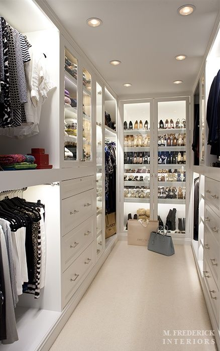 We love the use of shelf lighting in this closet, it really accentuates the…