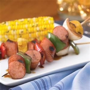 Johnsonville Smoked Brat Kabobs Recipe -This treat brings summer to your table anytime.<BR> Recipe provided by Johnsonville® Sausage.