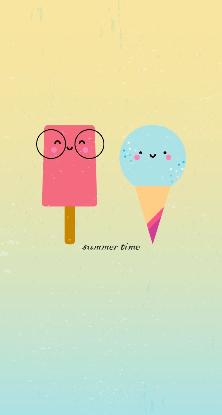 El #freebie del verano: fondo para el móvil de helados #wallpaper #mobile #ice cream #smiling #illustration