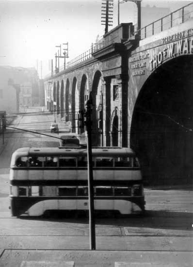 Tram at the Wicker arches - 1940 with Walker Street in the background #socialsheffield #sheffield