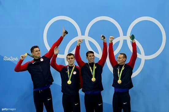 USA SWIM TEAM WON GOLD IN RIO 2016 MICHEAL PHELPS !!!!!