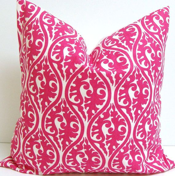 PINK PILLOW SALE.Damask.18x18 inch Decorator  Pillow Cover.Printed Fabric Front and Back.Hot Pink.Bright Pink.Pillow.Housewares. $14.00, via Etsy.