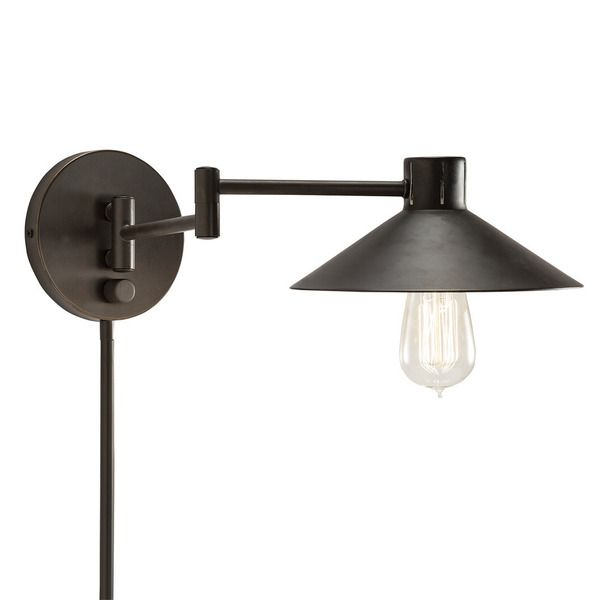 Transitional 1-light Bronze Swing Arm Pin-up Plug-in Wall Lamp