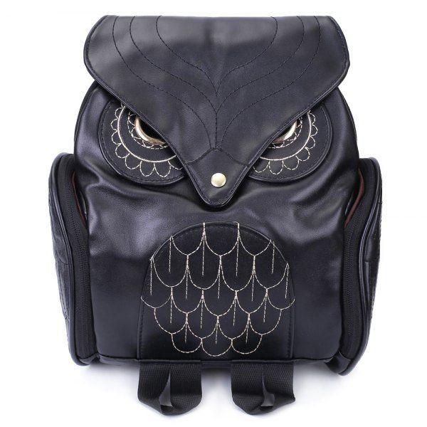 $12.50 Preppy Owl Pattern and Stitching Design Women's Satchel - Black