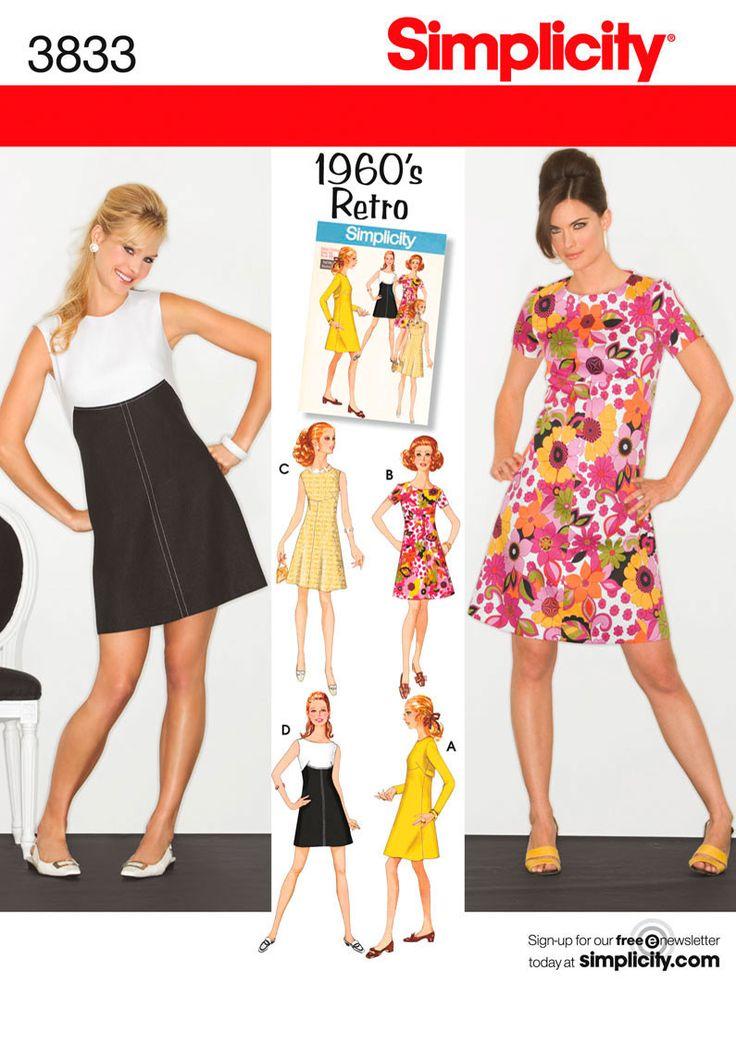 Simplicity Pattern: S3833 Miss & Miss Petite Dresses | Vintage 1960s — jaycotts.co.uk - Sewing Supplies