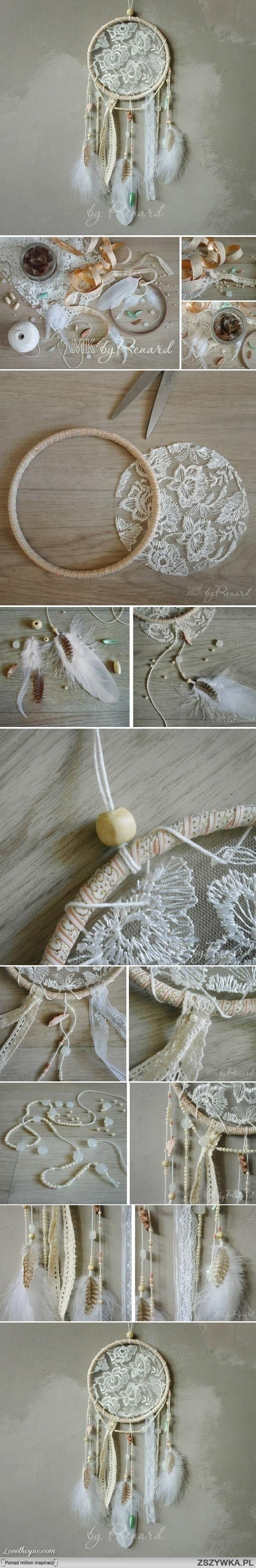 Step by step how to make a lace dreamcatcher.