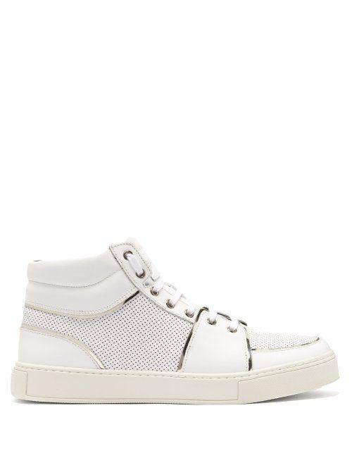 3eabf13d563 BALMAIN BALMAIN - PERFORATED HIGH TOP LEATHER TRAINERS - MENS - WHITE. # balmain #shoes