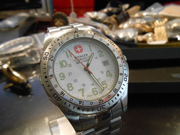 Army Swiss Wenger Military Stainless Steel Mineral Crystal Model 7914X Watch #Wenger #Military
