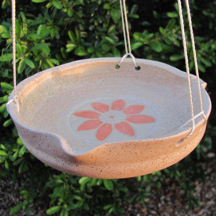 Bird Feeder Bird Bath Ceramic Bird Feeder Garden Pottery Garden Bowl Pet Supplies  Handmade Gifts  Ceramic Feeder Beige and Coral  Stoneware by SharsArtPottery on Etsy