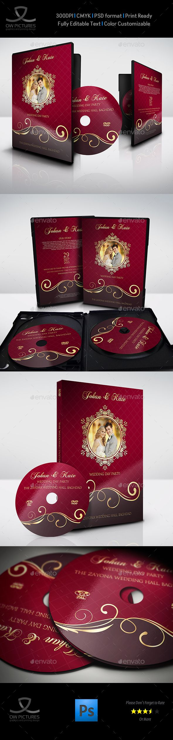 Wedding DVD Cover and DVD Label Template Vol.9 - #CD & #DVD Artwork Print #Templates Download here: https://graphicriver.net/item/wedding-dvd-cover-and-dvd-label-template-vol9/19347846?ref=alena994