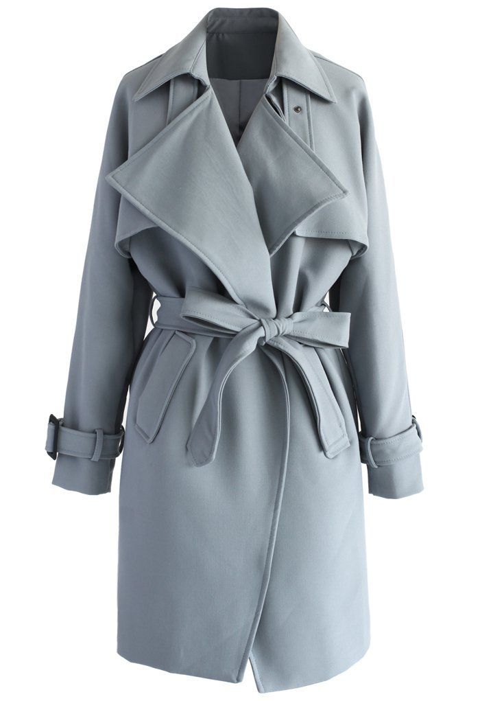 Textured Belted Trench Coat in Grey - Retro, Indie and Unique Fashion
