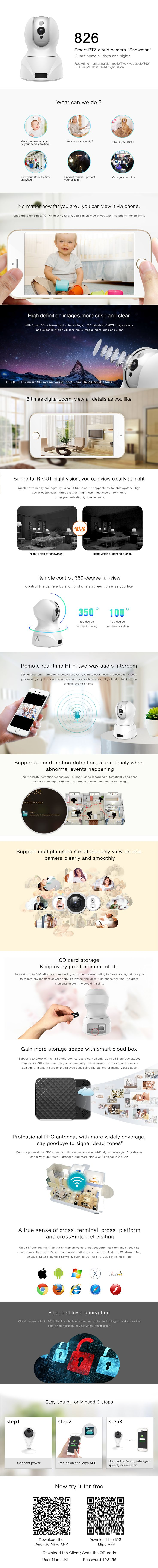 1080P IP camera snow man guard your home all day and night two way audio                                   Mobile/what's app/ WeChat:+86 135 3752 5894