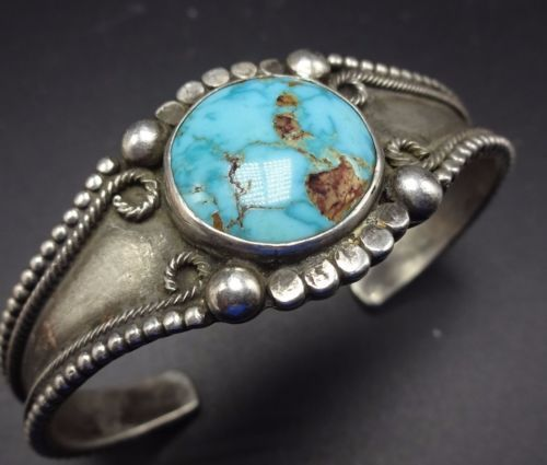 Vintage-1940s-NAVAJO-Sterling-Silver-amp-TURQUOISE-Cuff-BRACELET-Applied-Raindrops