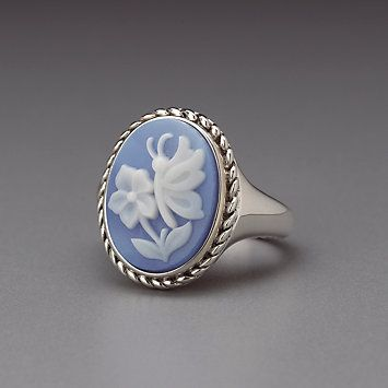 Sterling Silver Oval Blue Agate Cameo Ring by Lenox