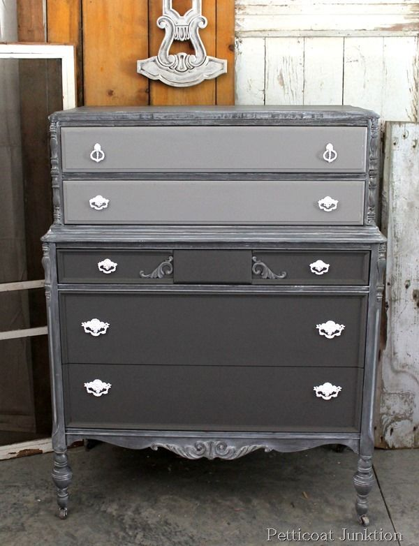 Chest of Drawers Gets Frosted: The paint is a mix of Reclaim Licorice, Reclaim Mocha, and Rust-Oleum White Latex. It's kind of a taupey gray color.