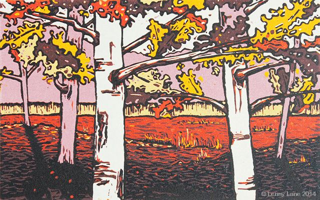 September. A multi coloured lino reduction print. An original limited edition.