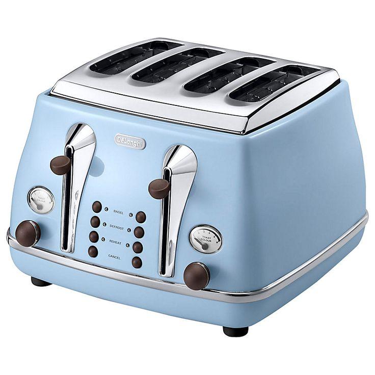 Buy De'Longhi Vintage Icona Kettle and 4-Slice Toaster, Azure Blue | John Lewis