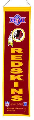 "Washington Redskins Super Bowl XXVI (26) 32"" Embroidered Wool Heritage Banner"