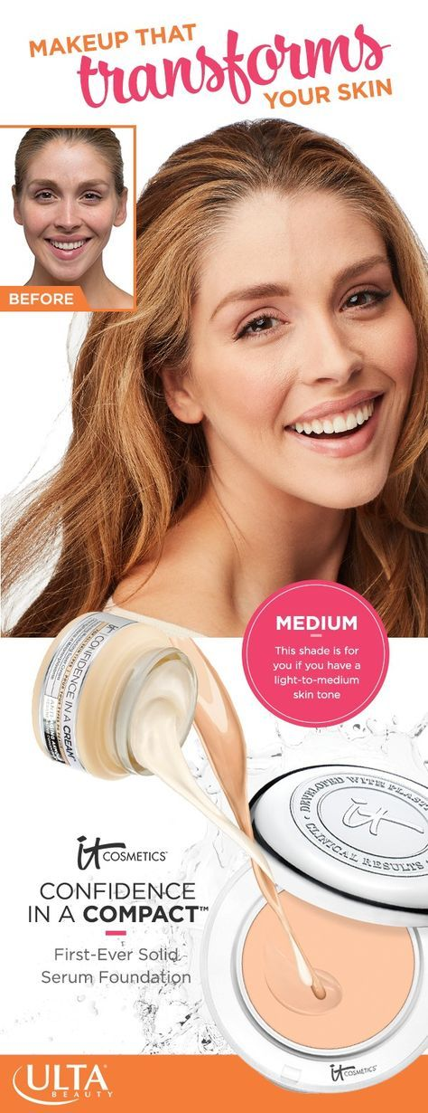 IT Cosmetics Confidence in a Compact foundation in Medium: perfect for light-to-medium skin tones. This full coverage makeup doesn't just hide imperfections. It transforms skin and has all the hydrating and anti-aging benefits of Confidence in a Cream with SPF 50+.