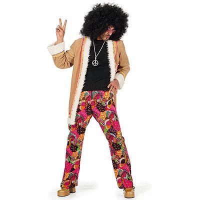 Hippie broek met jasje voor heren. Flower power hippie broek in vrolijke kleuren met het bruine jasje. Carnavalskleding 2015 #carnaval