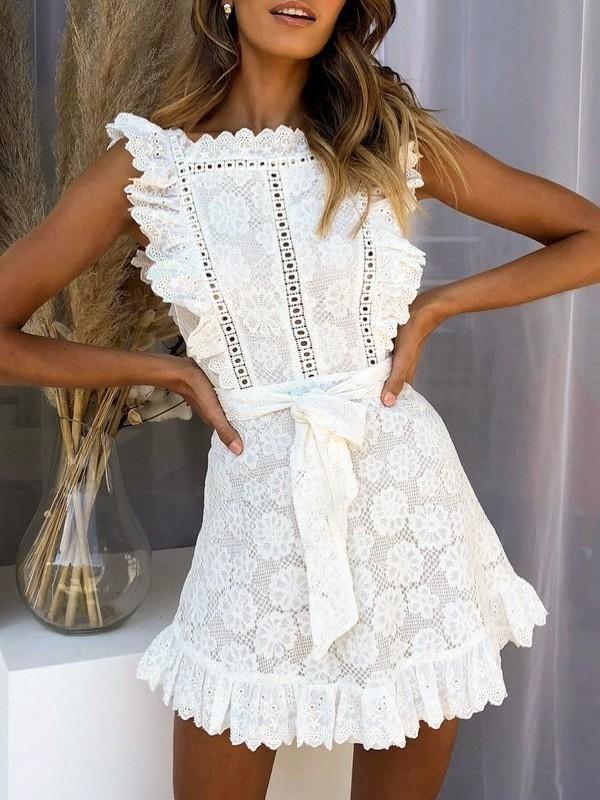 f2cb81b564fb6 2019 的 Retro White Lace Ruffled Mini Dress | ShopForSelection 主题