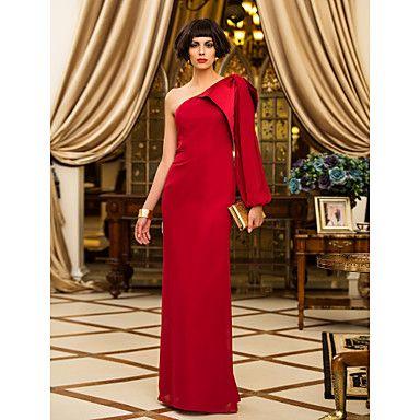 Formal Evening/Military Ball Dress Sheath/Column One Shoulder Floor-length Chiffon Dress – USD $ 99.99
