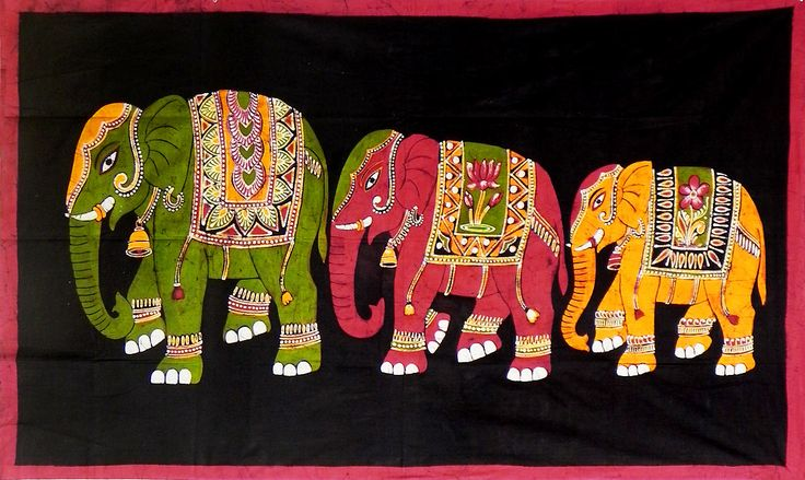 Three Royal Elephants (Batik Painting on Cotton Cloth - Unframed)