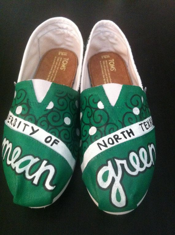 UNT Mean Green Toms on Etsy, $95.00. I wish these were a bit cheaper, but they are so freaking cute!