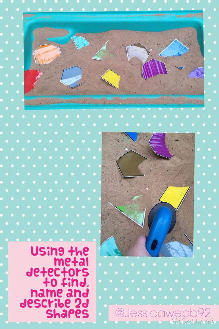 One child describes a 2d shape and the other child finds the shape using a metal detector. EYFS