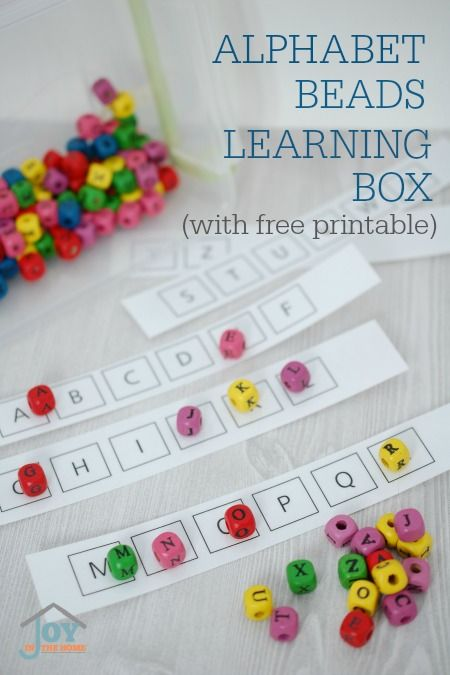 Use alphabet beads with this hands-on learning box to help preschoolers learn how to identify letters, while learning the alphabet.