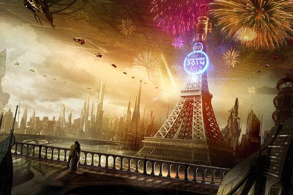 eiffel tower, Paris Art, French poster,  cityscape Paris,