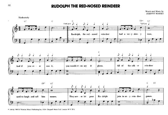rudolph the red nosed reindeer sheet music free pdf