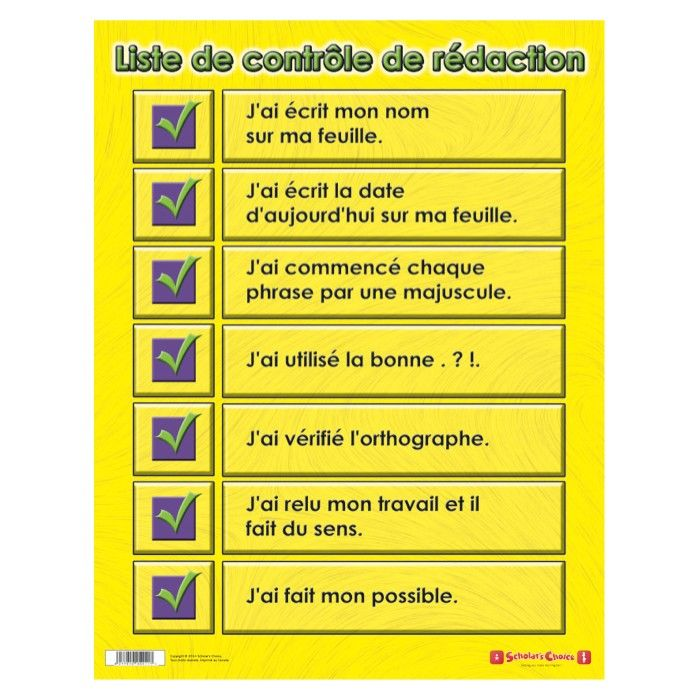 Writing Checklist French English Double Sided Learning Chart - Shop by Subject - Teacher Store | Scholar's Choice