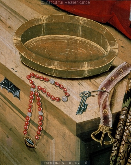 detail from Geburt Mariens: Kunstwerk: Temperamalerei-Holz ; Einrichtung sakral ; Flügelaltar ; Meister des Eggelsberger Altars ; Oberösterreich  Dokumentation: 1481 ; 1481 ; Linz ; Österreich ; Oberösterreich ; Schloßmuseum  Anmerkungen: Eggelsberg bei Schärding