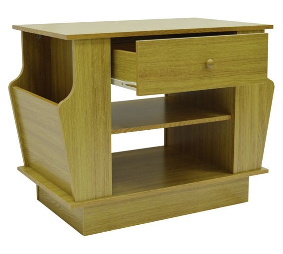 Best Buy End Table With Magazine Rack And Storage Oak Effect 400 x 300