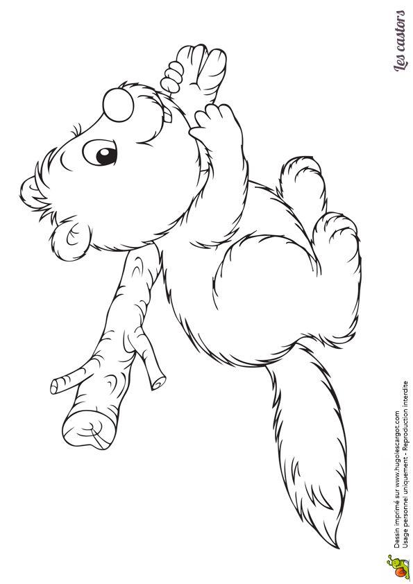 Un petit castor avec un tronc d'arbre sur les épaules, dessin à colorier