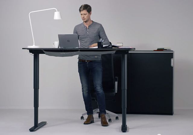 Its newly released adjustable desk — the BEKANT let's us have all the work-station heights we could possibly imagine.  New IKEA Desk Will Make You Happier At Work  #Refinery29