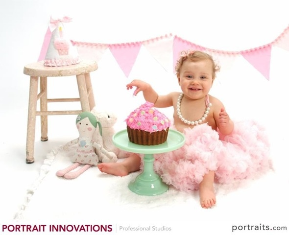 First birthday kids photography vintage prop rentals pink stool and jadite cake stand from finch