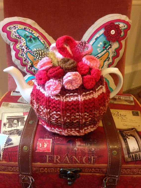 Hand knitted designer tea cozy by Funky Knits