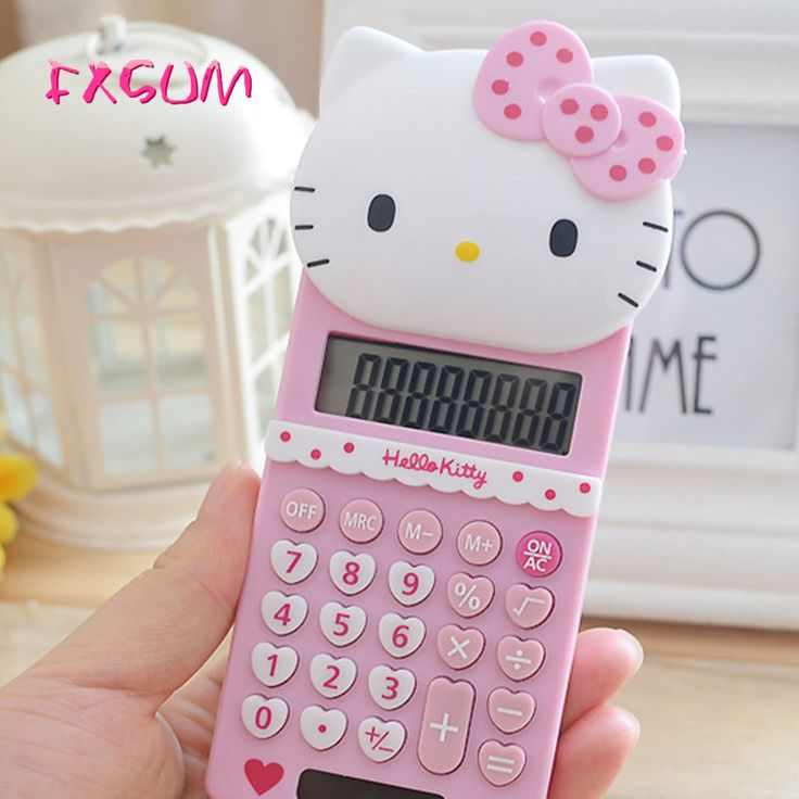 FXSUM New Cute Hello Kitty Basic Electronic Calculator Pink 8 Digitals Calculating School Stationery Portable Calculadora Gifts #Affiliate