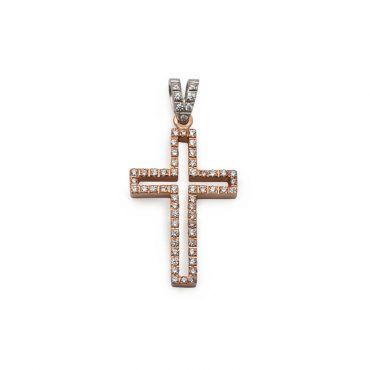 Μοντέρνος βαπτιστικός σταυρός για κορίτσι ροζ χρυσός Κ14 με λευκόχρυσο κρίκο και σειρέ ζιργκόν περιμετρικά | Βαπτιστικοί σταυροί ΤΣΑΛΔΑΡΗΣ στο Χαλάνδρι #βαπτιστικός #σταυρός #βάπτισης #ροζ #κορίτσι